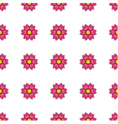 Seamless pattern with cartoon red flowers vector