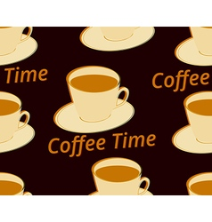 Seamless pattern with cup of coffee on a saucer vector image