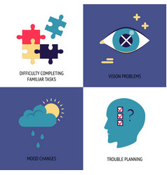 set alzheimer s disease symptoms icons in flat vector image