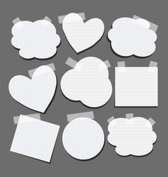 set different shapes paper stickers with tape vector image