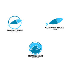 set fish logo abstract design template seafood vector image