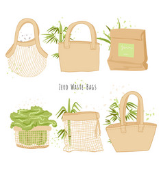 Set isolated eco bags in hand draw cartoon styl vector