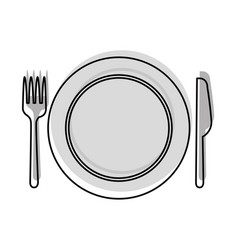 Set kitchen cutlery with dish vector