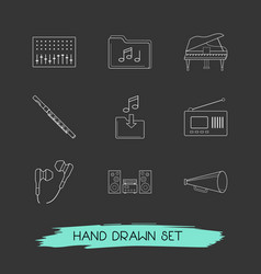 Set of studio icons line style symbols with music vector