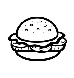 silhouette delicious hamburger fast food icon vector image