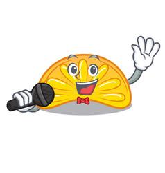 Singing orange jelly candy mascot cartoon vector