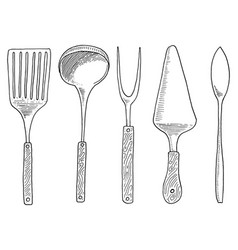 Spatula for hot caviar and dessert fork for vector
