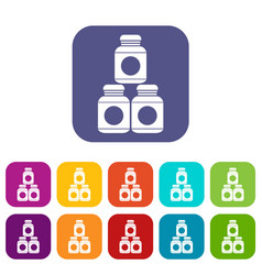 Sport nutrition containers icons set vector