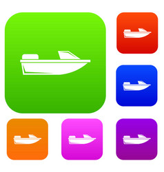 Sports powerboat set collection vector