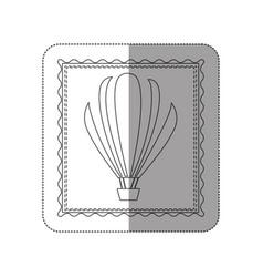 Sticker contour frame of hot air balloon vector