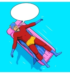 Superhero lying on air mattress comic vector