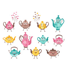 teapots funny characters vector image