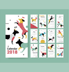 template calendar 2017 with a dog in memphis style vector image