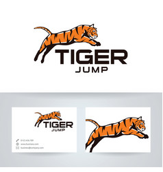 Tiger jump logo design vector