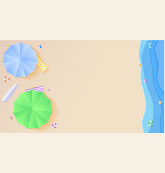 Top view of summer beach in style of cut out paper vector