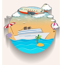 Travel theme with cruise and airplane vector image