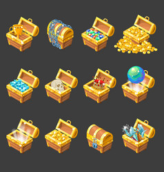 Treasure Chests Isometric Cartoon Set vector