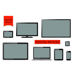 Various modern digital devices vector