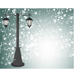 vintage street lamp at winter background vector image