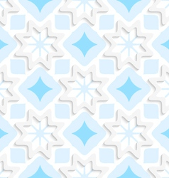 White snowflakes on flat blue ornament seamless vector