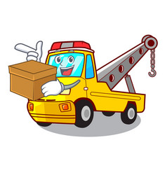 With box truck tow the vehicle with mascot vector