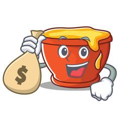 With money bag honey character cartoon style vector