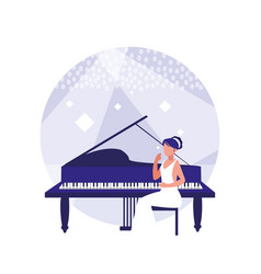 woman elegant playing piano vector image