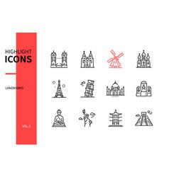 world famous landmarks - line design style icons vector image