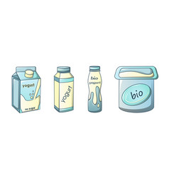 Yogurt icons set cartoon style vector