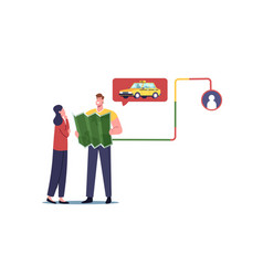 young couple characters with map waiting taxi car vector image