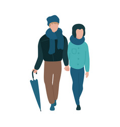 young couple walking with vector image
