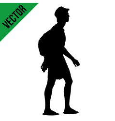 young man silhouette with backpack walking vector image