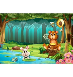 Bear in jungle vector image vector image
