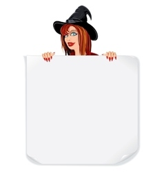 Beauty Witch with Paper Scroll vector image vector image