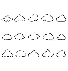 black cloud outline icons set vector image vector image