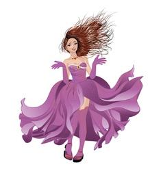 Girl in flowing dress vector