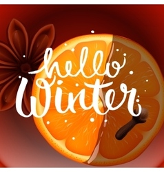 Hello winter christmas tea with spices vector