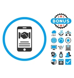 Mobile Agreement Flat Icon with Bonus vector image