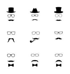 set of black hipster icons vector image
