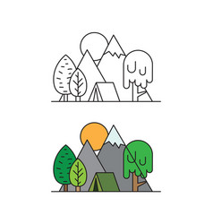 tourist tent in a camping at forest tree on vector image