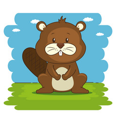 cute adorable beaver animal cartoon vector image vector image