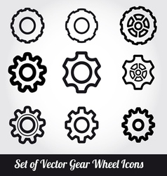 Gear wheels icons set vector image vector image