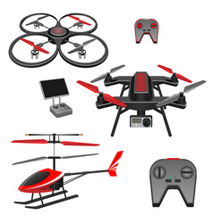helicopter and quadrocopter quadcopter with vector image