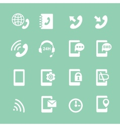 Simple set of phones related white icons vector image vector image