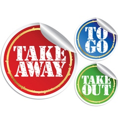 Take away to go and take out grunge stickers vector image
