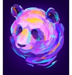 The cute colored panda head vector image