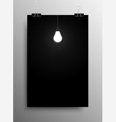 Glowing light bulb dark room idea vector