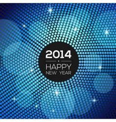 Happy New Year 2014 - blue disco lights frame vector image