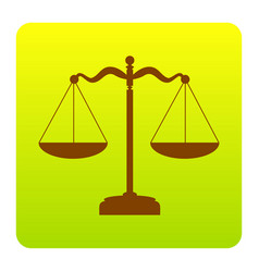scales balance sign brown icon at green vector image vector image