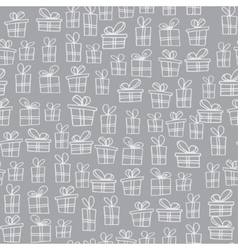 Seamless texture with hand drawn gift boxes with vector image vector image